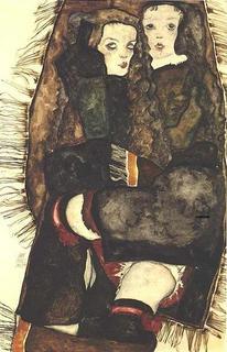 435px-Schiele_-_Zwei_M25C325A4dchen_auf_einer_Fransendecke_-1911.jpg